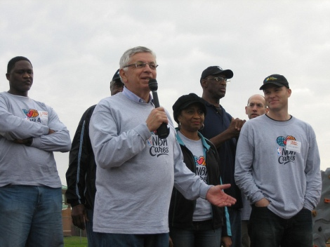 NBA Commissioner David Stern at a KaBOOM! build in New Orleans
